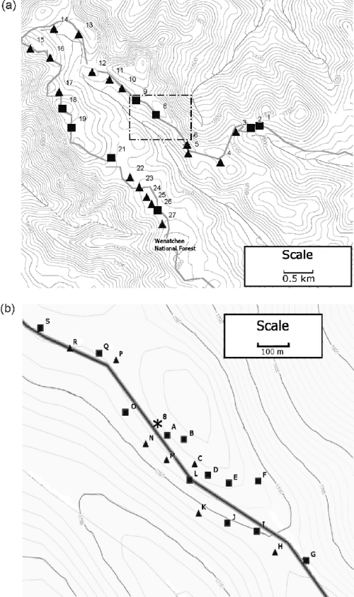 small resolution of  a coarse scale whitebark pine tree sample locations and haplotypes at manastash ridge