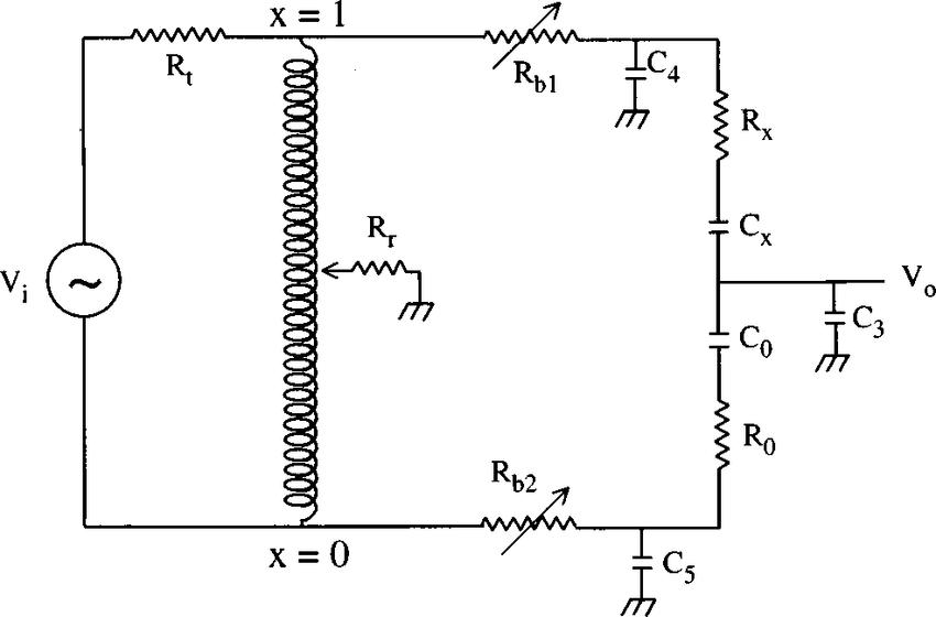 Equivalent circuit diagram of the ac capacitance bridge. R