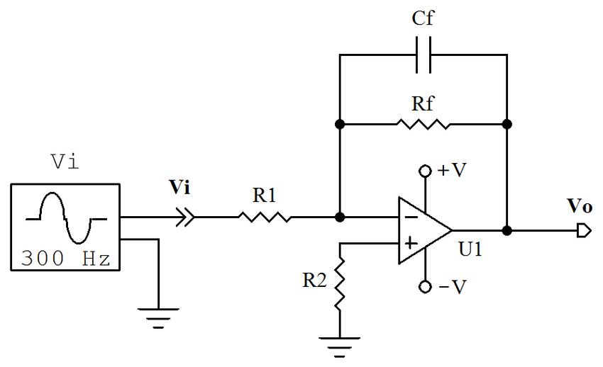 Circuito eléctrico de un filtro pasa bajo analógico