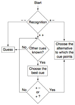 Flow diagram of a fast and frugal heuristic : take the