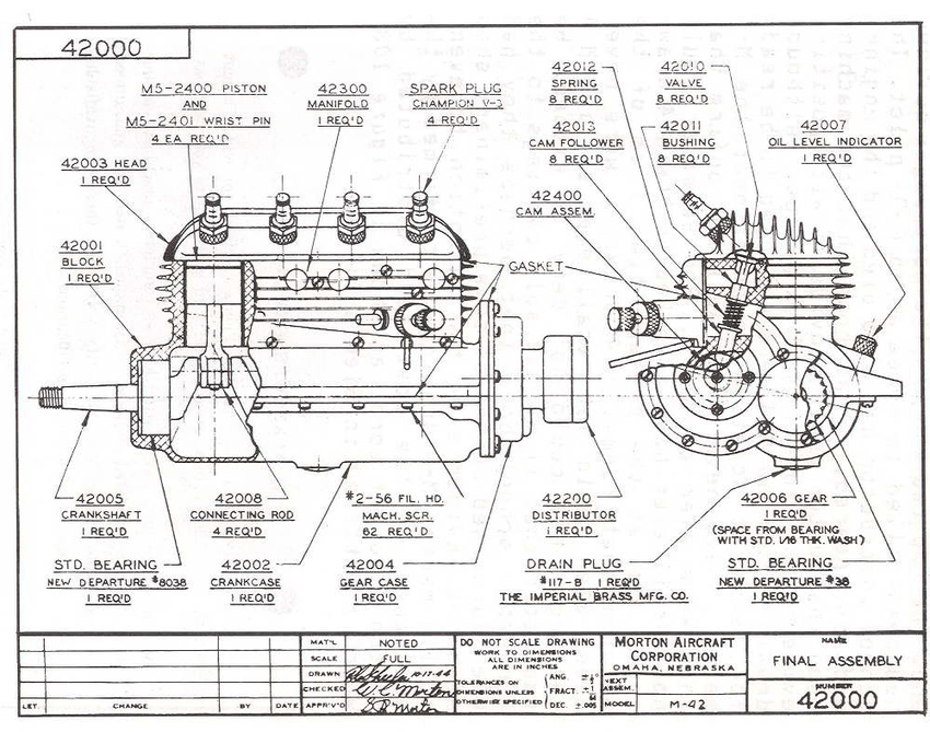 Engineering Drawing of an 4 cylinder Morton M42 motor