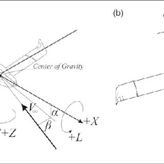 Light aircraft coordinate system and sign convention: (a