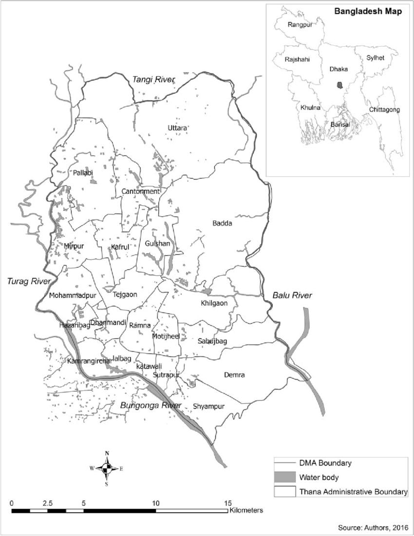 Location of study area, Bangladesh. DMA = Dhaka