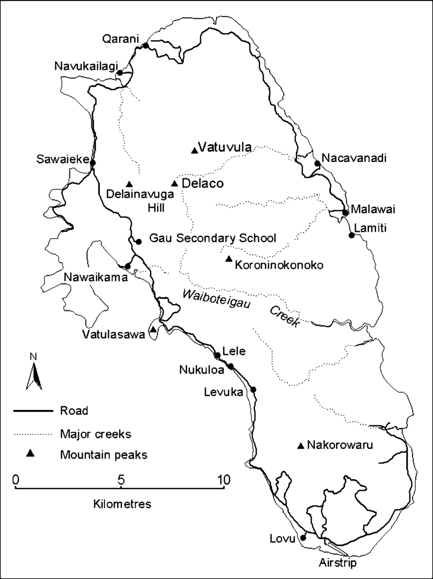 Map of the island of Gau showing places mentioned in the