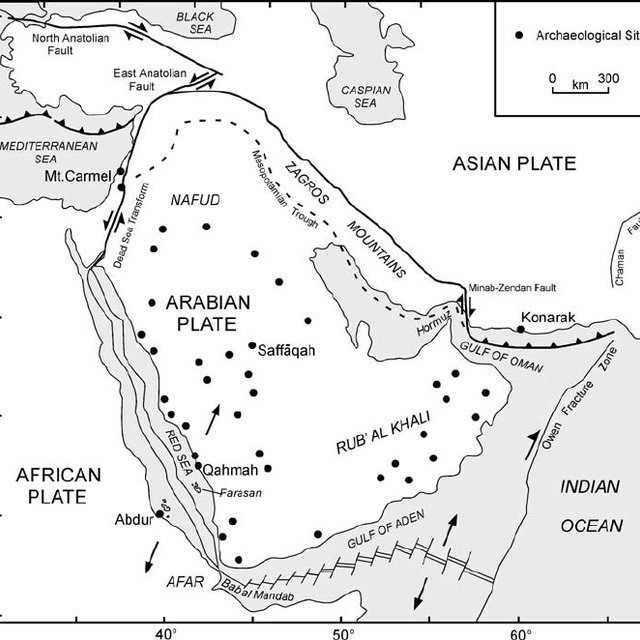 The Red Sea showing area of land exposed at the