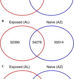 venn diagrams illustrating the number of genes expressed uniquely in a single population and genes with [ 850 x 1518 Pixel ]
