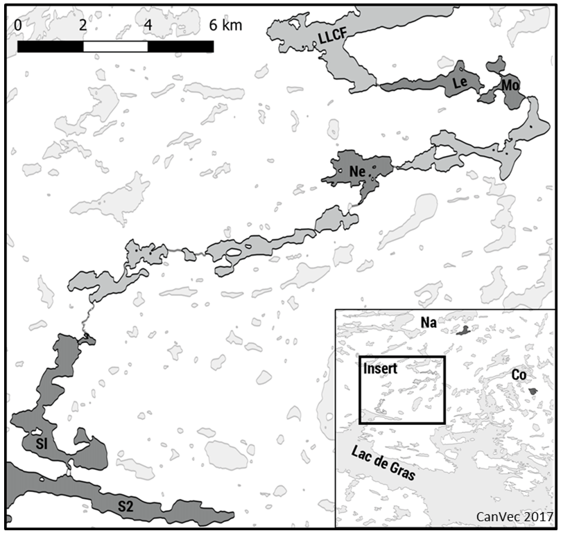Map of the lakes showing the LLCF proximal lakes: Leslie