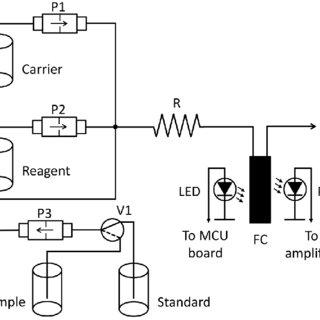 Diagram of the flow system. P1, P2, P3: solenoid micro