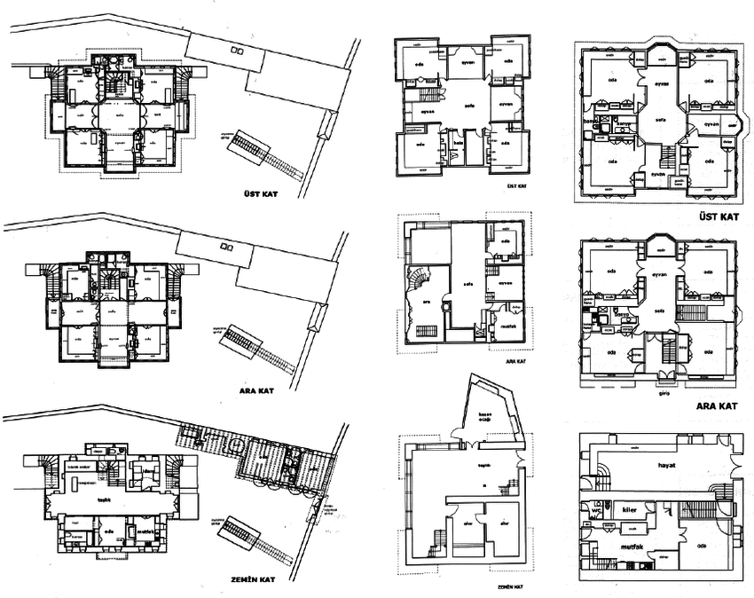 Three examples of typical house plans in Safranbolu