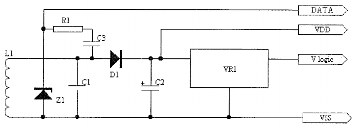 Power and data extraction circuit. RF is received on