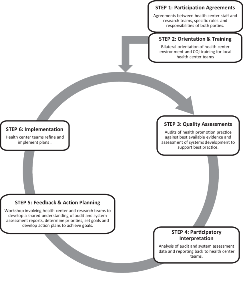 hight resolution of the health promotion continuous quality improvement model adapted from bailie et al