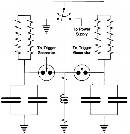 A diagram of the high-voltage circuits. The inductive load