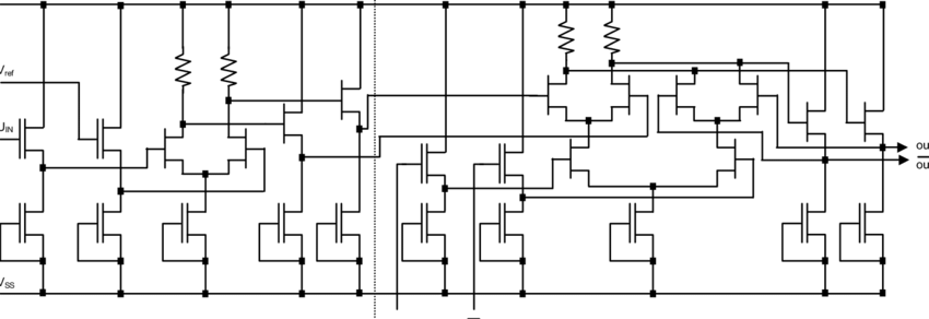 Circuit diagram of the preamplifier and the comparator