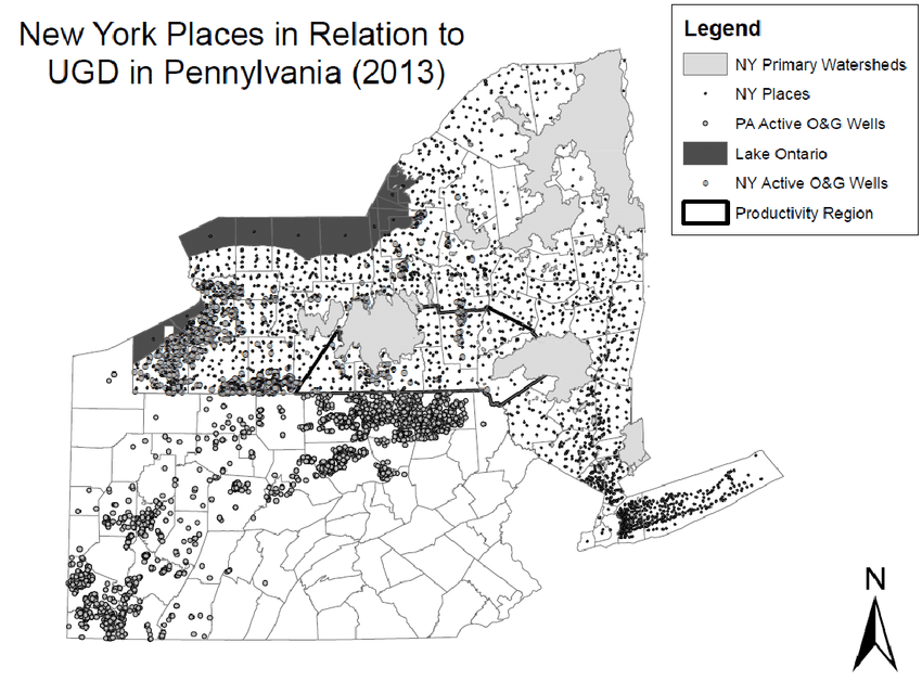 Map illustrating active oil and gas wells in NY as well as