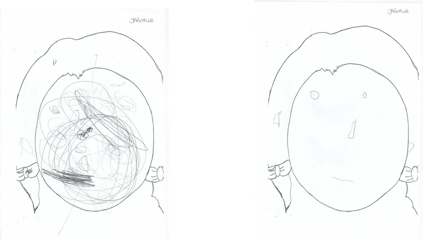 Pretest (left) and posttest (right) drawings of a student