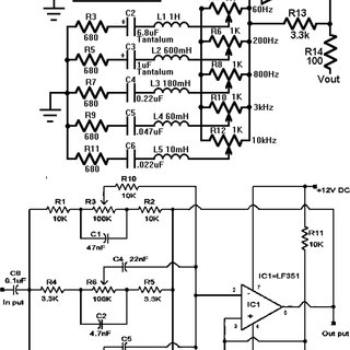 Circuit diagram of typical 5 band (Center, front left and