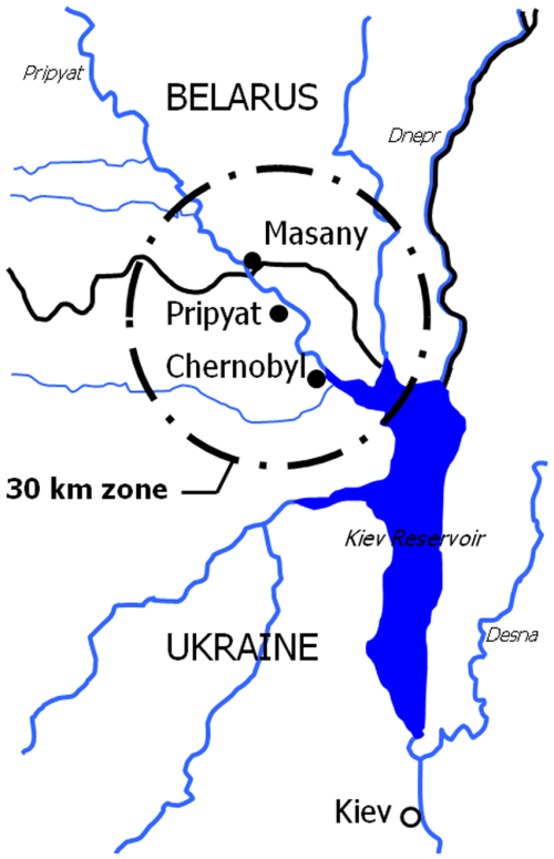 small resolution of the 30 km zone around the chernobyl nuclear power plant