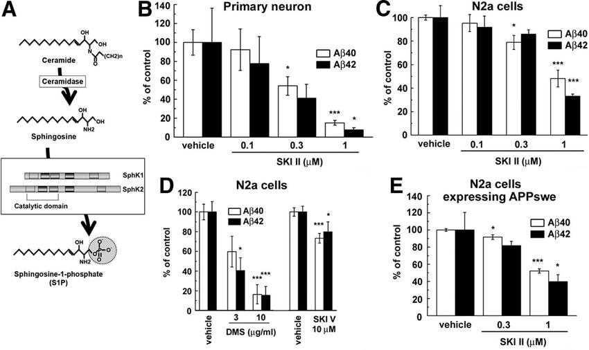 Sphingosine kinase inhibitors decreased the A secretion