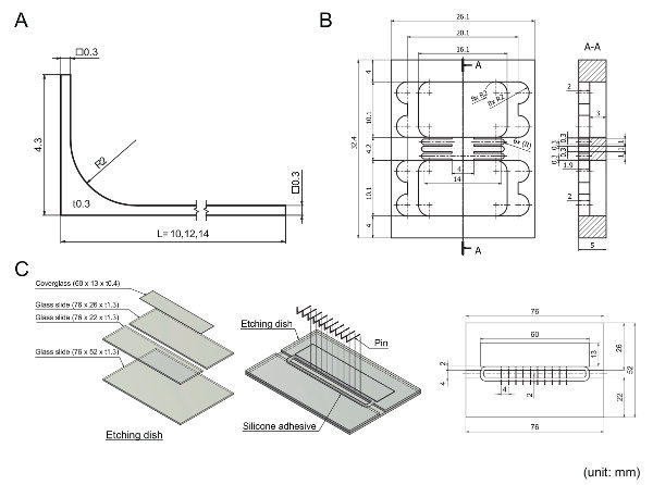 Mechanical drawing of machined parts used in the protocol