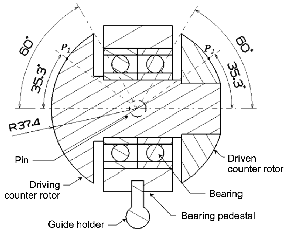 The schematic diagram of the counter rotor assembly