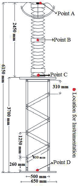 Sketch of surge arrester mounted on steel structure