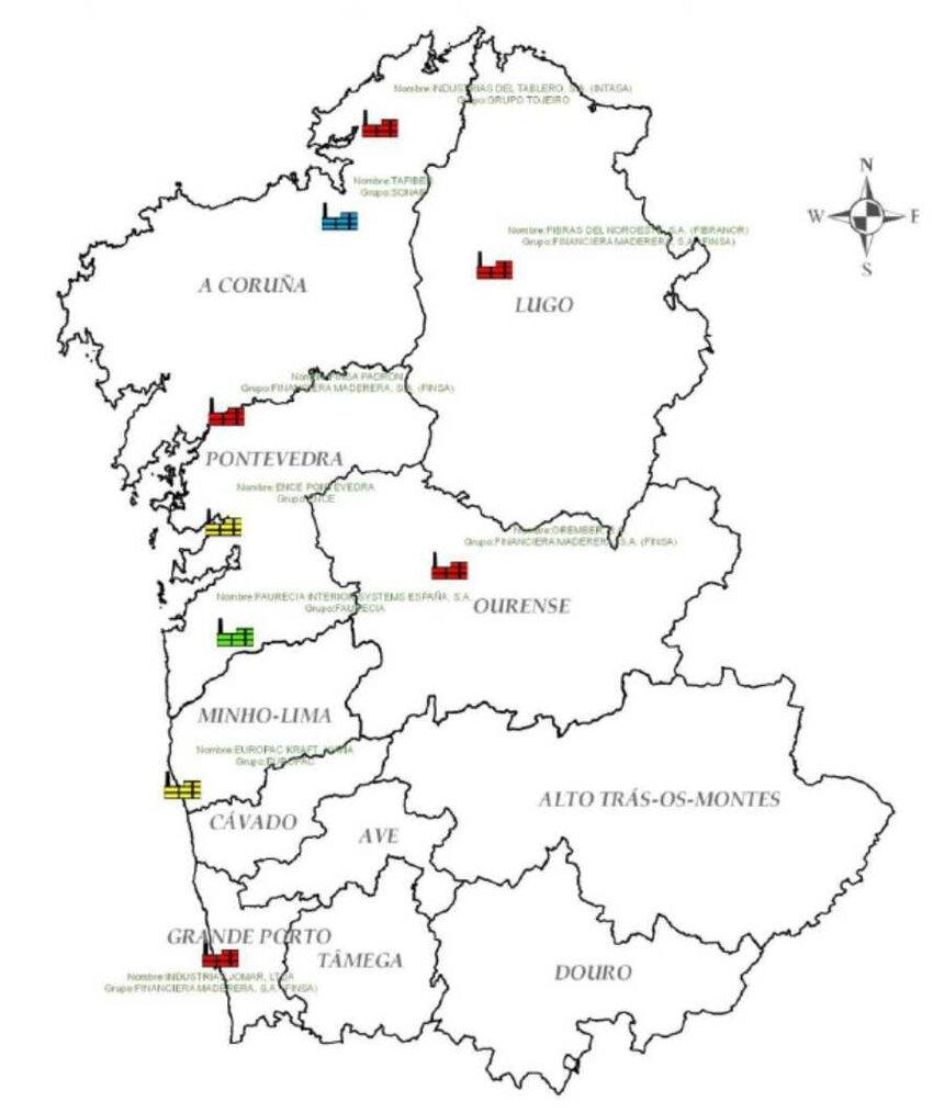 hight resolution of  northern iberian peninsula wood transformation plants geo localization 1
