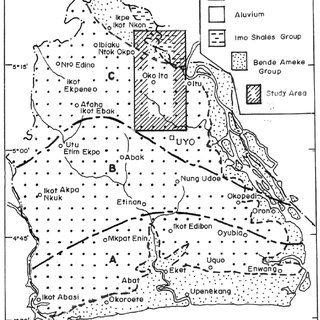 Map of Akwa Ibom State showing the geology and the