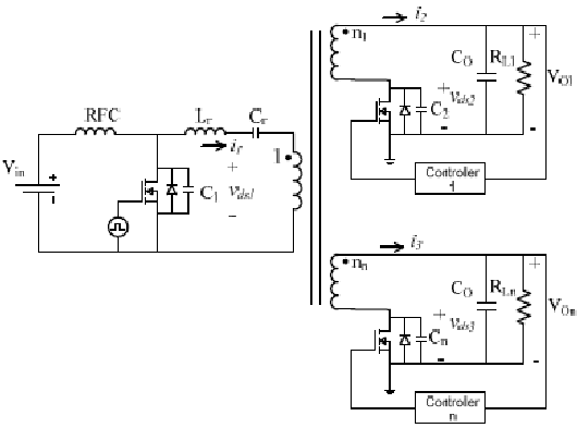Multiple output class-E isolated dc-dc converter