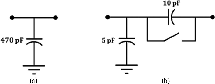 Equivalent high-frequency circuits (138 kV system). (a
