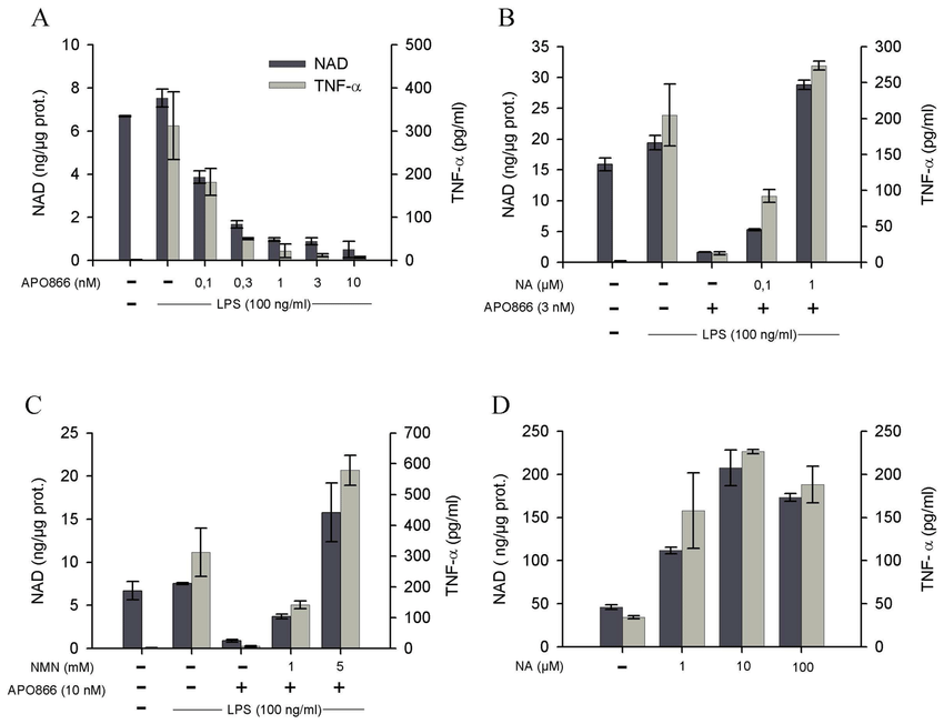 Intracellular NAD levels determine TNF-α production