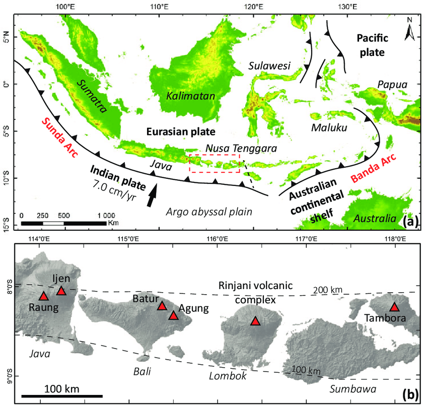 (a) Map of the Indonesian volcanic arc system, showing the ...