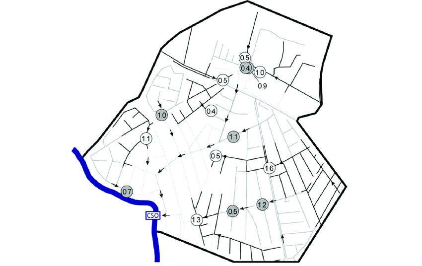 Layout of the existing sewer mains and estimated necessary
