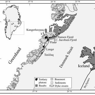 Distribution of onshore and offshore basalts in the North