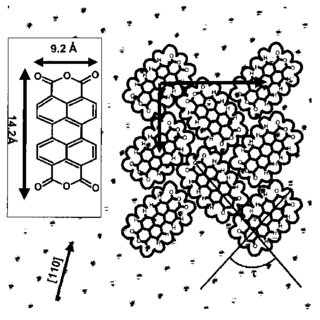 Real space model of the absorbtion geometry of PTCDA on O