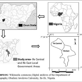 Map description showing the location of Ile-Ife, Osun