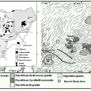 Geological map of the Bauchi area. Foliations compiled