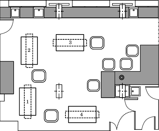 Figure 1: The layout of the NICU room with the four