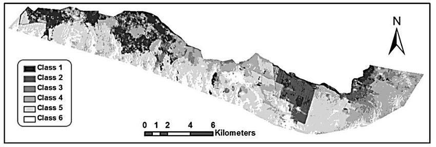 Unsupervised classified ETM+ Landsat image (2013) of the