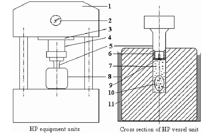 Schematic diagram of the HP unit used for HHP treatment