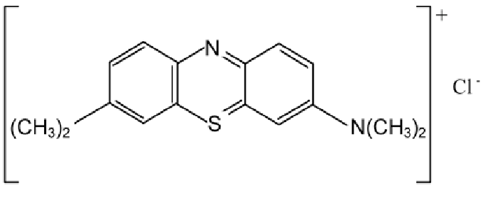 Chemical structure of methylene blue (basic blue 9