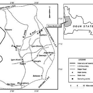 The Map of Yewa North LGA, Ogun State, Nigeria A