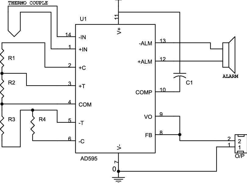 5: Circuit diagram of thermocouple amplifier board