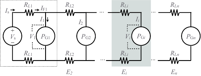 Equivalent circuit of the daisy-chained power distribution