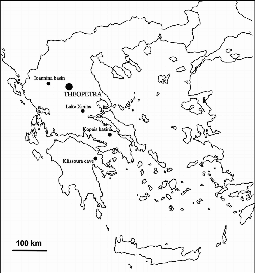 Map of Greece showing the location of Theopetra Cave as