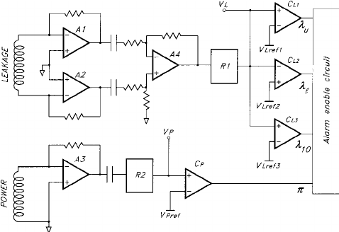 Schematic of the LCS analog circuit: A1, A2, A4, leakage