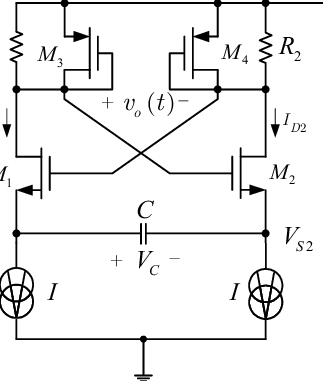 The classical CMOS relaxation oscillator circuit