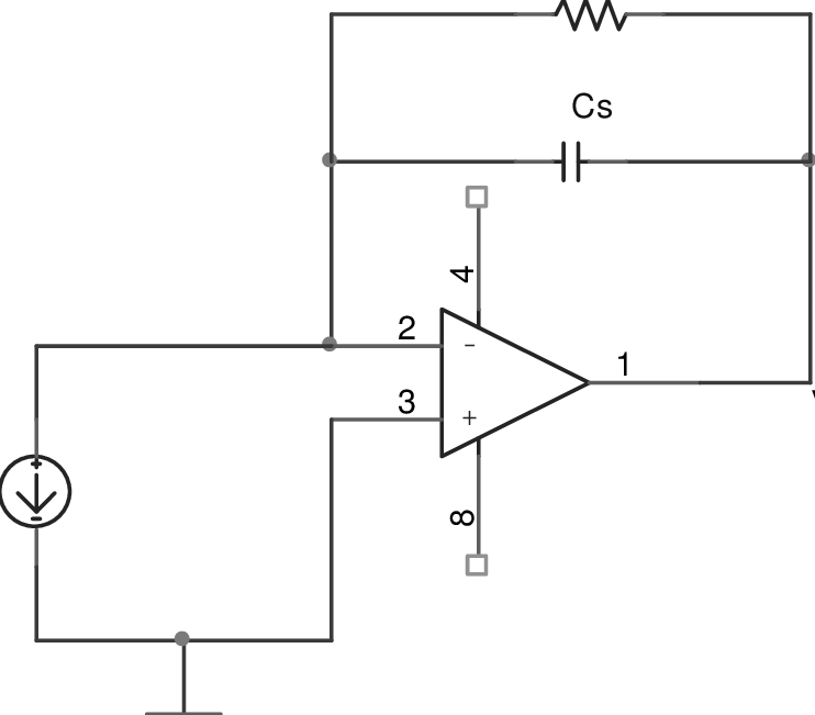 Circuit diagram of basic transimpedance amplifier