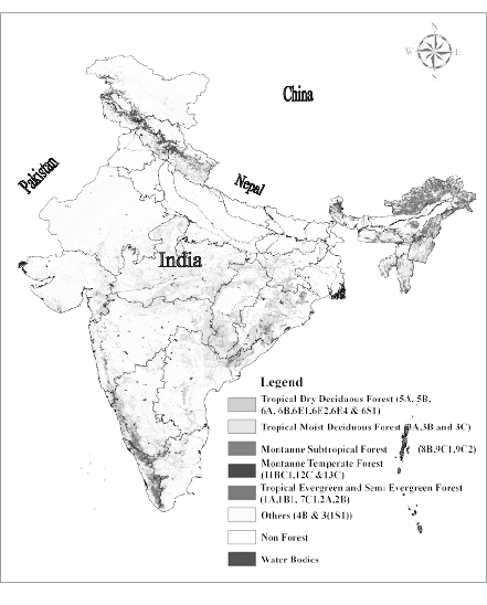 Vegetation map of India classified into five major classes
