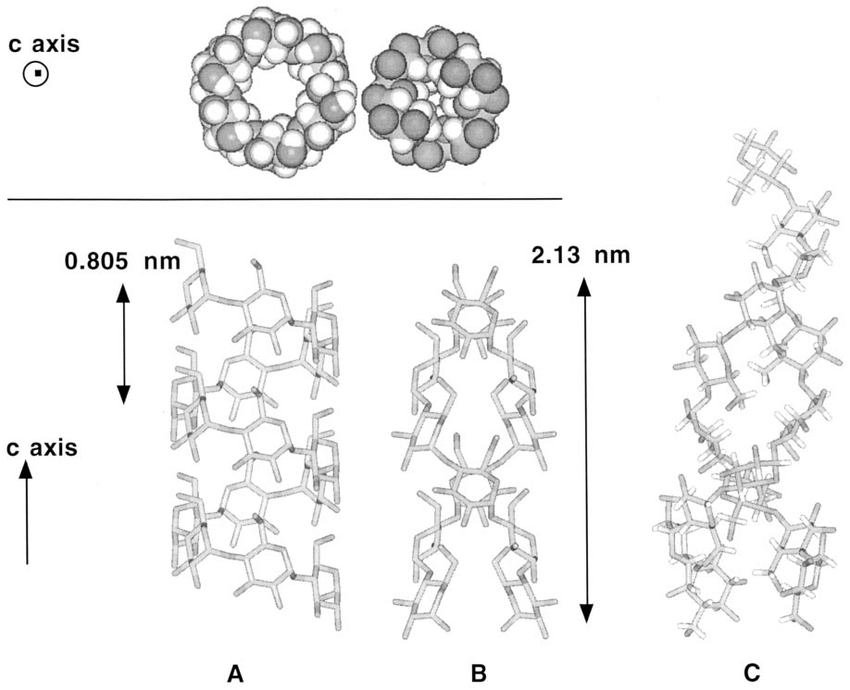 Helical conformations present in starch and starch