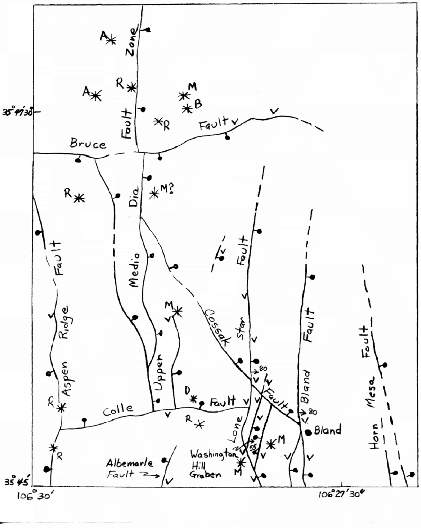 Map of southwestern Bland quadrangle showing named faults
